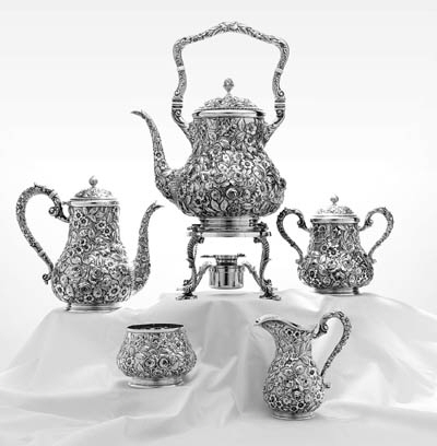 AN AMERICAN FIVE-PIECE SILVER