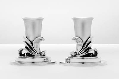 A PAIR OF DANISH SILVER CANDLE