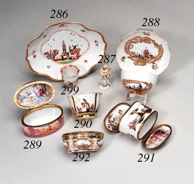 A GOLD-MOUNTED MEISSEN CARTOUC