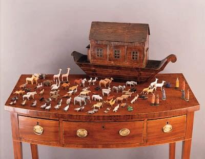 A FRUITWOOD WOOD MODEL OF NOAH