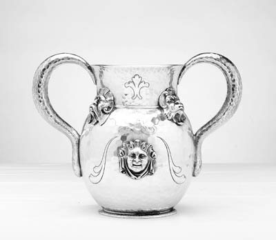 AN AMERICAN SILVER TWO-HANDLED CUP