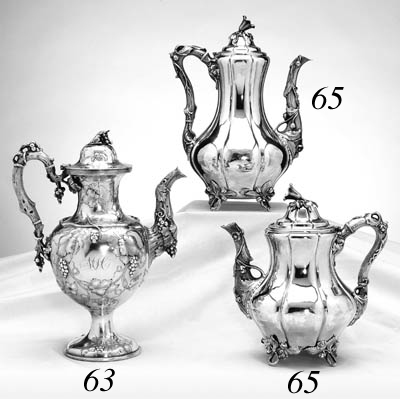 AN AMERICAN SILVER TEAPOT AND COFFEE POT