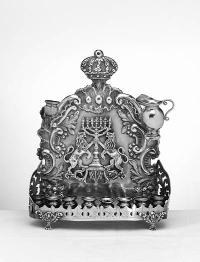 A RUSSIAN SILVER HANUKAH LAMP