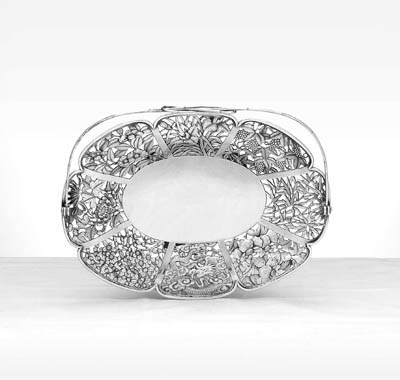A CHINESE EXPORT SILVER CAKE B