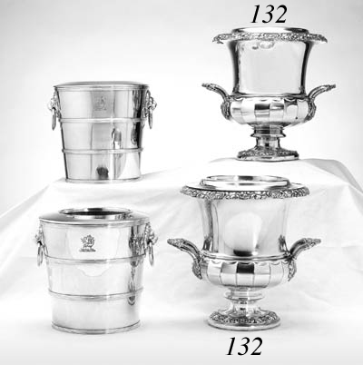 A PAIR OF SILVER-PLATED TWO-HANDLED WINE COOLERS
