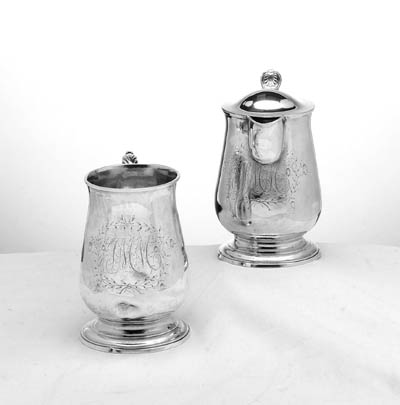 A SILVER COVERED PITCHER AND A GEORGE III SILVER MUG
