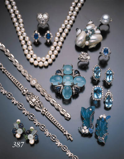 PAIR OF GEMSET AND CULTURED PE