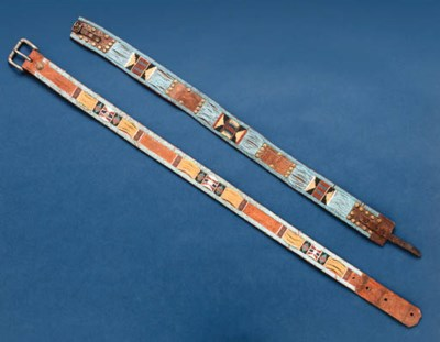 TWO CROW BEADED LEATHER BELTS