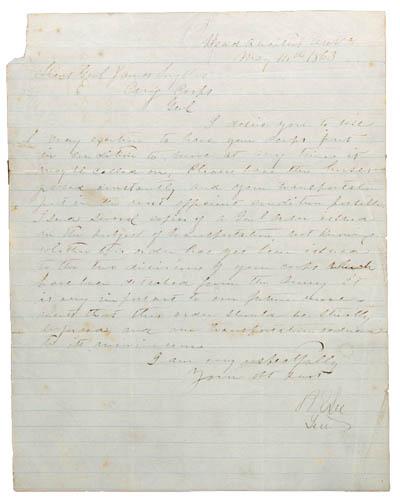 LEE, ROBERT E.  Letter signed