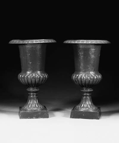 A PAIR OF GREEN-PAINTED CAST-I