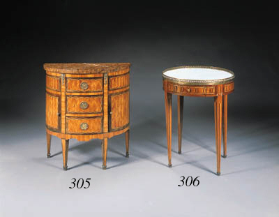 A LOUIS XVI STYLE ORMOLU-MOUNTED SATINWOOD AND PARQUETRY DEMILUNE COMMODE