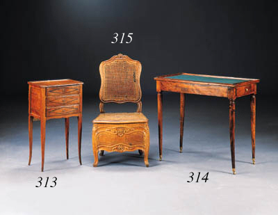 A LOUIS XV WALNUT AND CANED CH