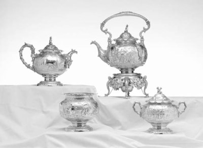 AN AMERICAN SILVER FOUR-PIECE