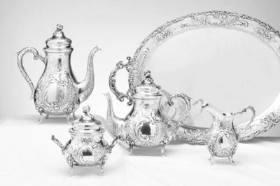 A GERMAN FOUR-PIECE SILVER TEA