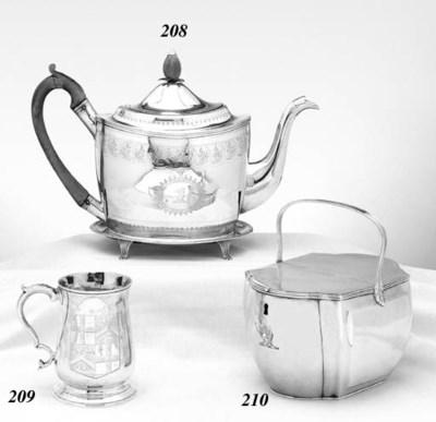 A GEORGE III SILVER DOUBLE TEA