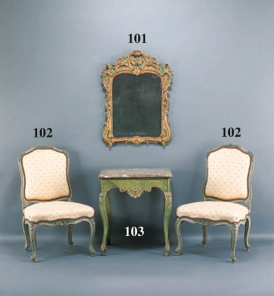 A LOUIS XV GREEN-PAINTED AND P