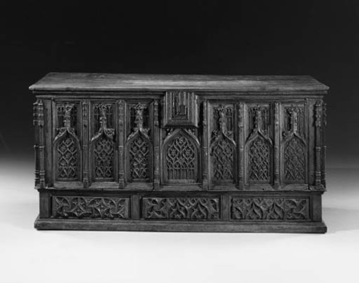 A GOTHIC STYLE OAK CHEST