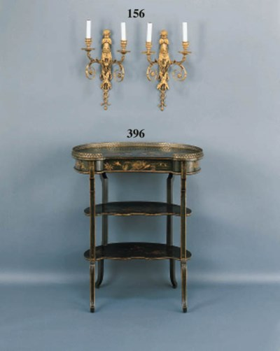 A LOUIS XV STYLE BRASS MOUNTED