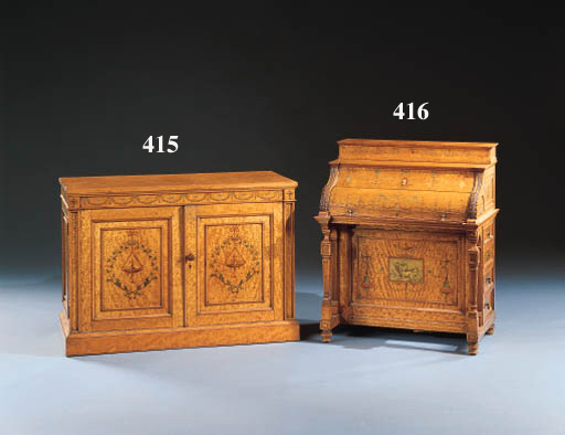 A EDWARDIAN SATINWOOD AND POLY