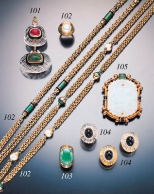 CARVED JADE, EMERALD AND YELLO