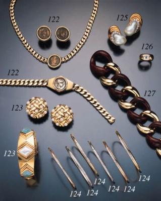 SIX DIAMOND AND GOLD BRACELETS