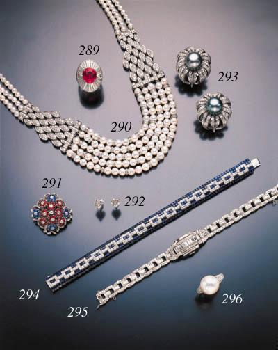 DIAMOND SAPPHIRE AND RUBY BROO