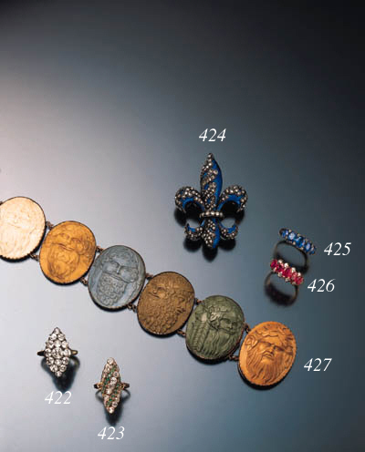 ANTIQUE DIAMOND AND ENAMEL BRO
