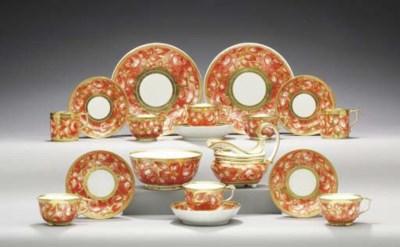 A DERBY GOLD-GROUND PART TEA A