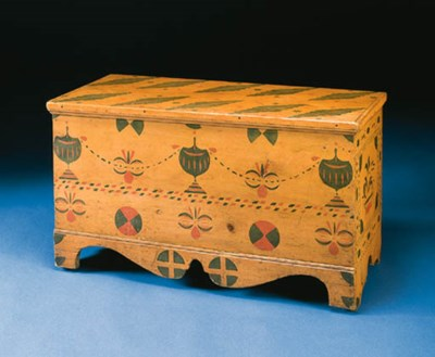 A SALMON-PAINTED AND DECORATED