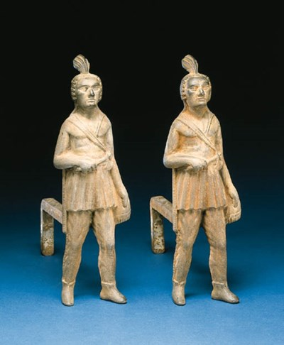 A PAIR OF CAST-IRON INDIAN AND