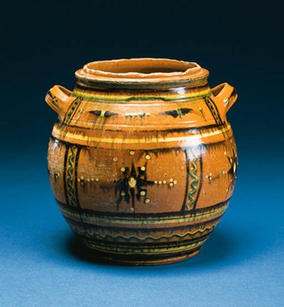 A GLAZED MORAVIAN SUGAR JAR
