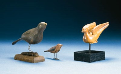 THREE CARVED AND PAINTED BIRDS