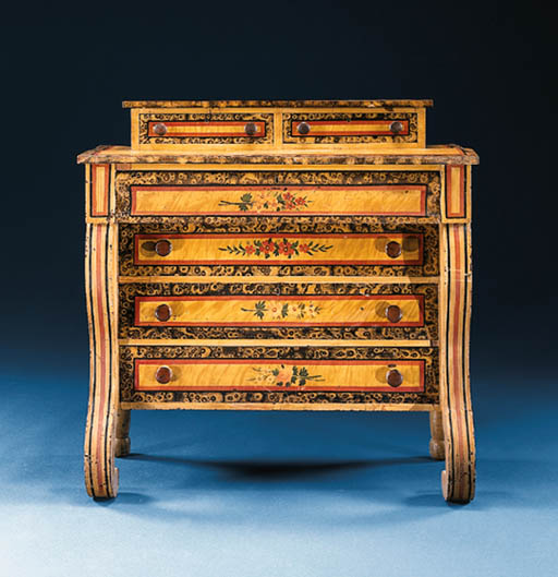 A PAINTED CHEST-OF-DRAWERS