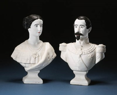 A PAIR OF CHALKWARE BUSTS