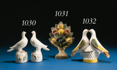 A PAIR OF CHALKWARE DOVES