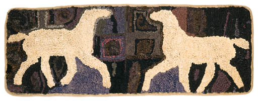 A WOOL AND COTTON HOOK RUG
