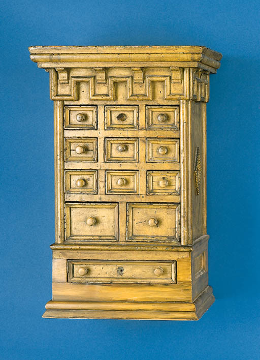 A YELLOW-PAINTED HANGING CHEST