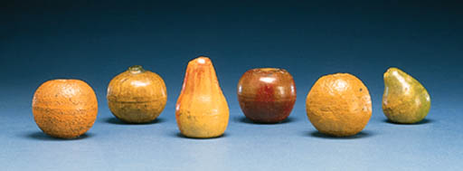 A GROUP OF SIX PAINTED EARTHEN