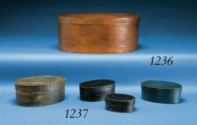 A GROUP OF OVAL BENTWOOD BOXES