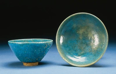 A TURQUOISE GLAZED BOWL AND DI