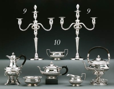 A SILVER SIX-PIECE TEA AND COF