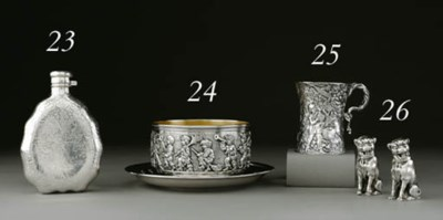 A SILVER CHILD'S BOWL AND PLAT