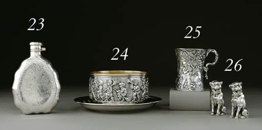 A PAIR OF SILVER FIGURAL CASTE