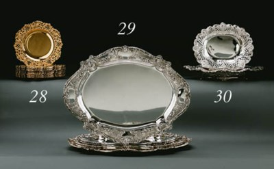 A SET OF THREE SILVER SERVING