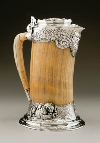 A SILVER-MOUNTED IVORY TUSK FL
