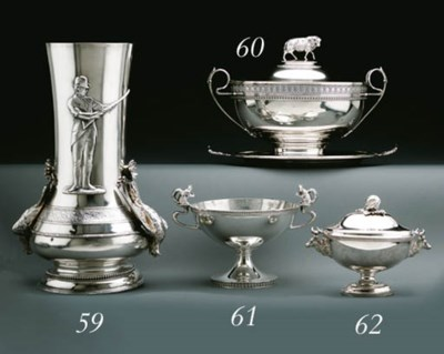 A SILVER SHOOTING TROPHY VASE