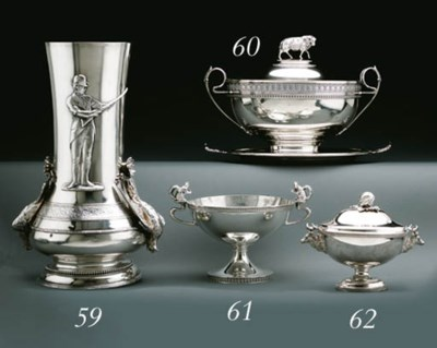 A SILVER SAUCE TUREEN AND COVE