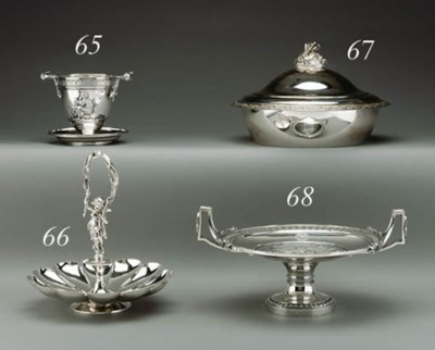 A SILVER VASE ON STAND