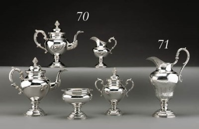 *A SILVER FIVE-PIECE TEA AND C