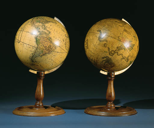 TWO PAPER-ON-GESSO GLOBES: TER